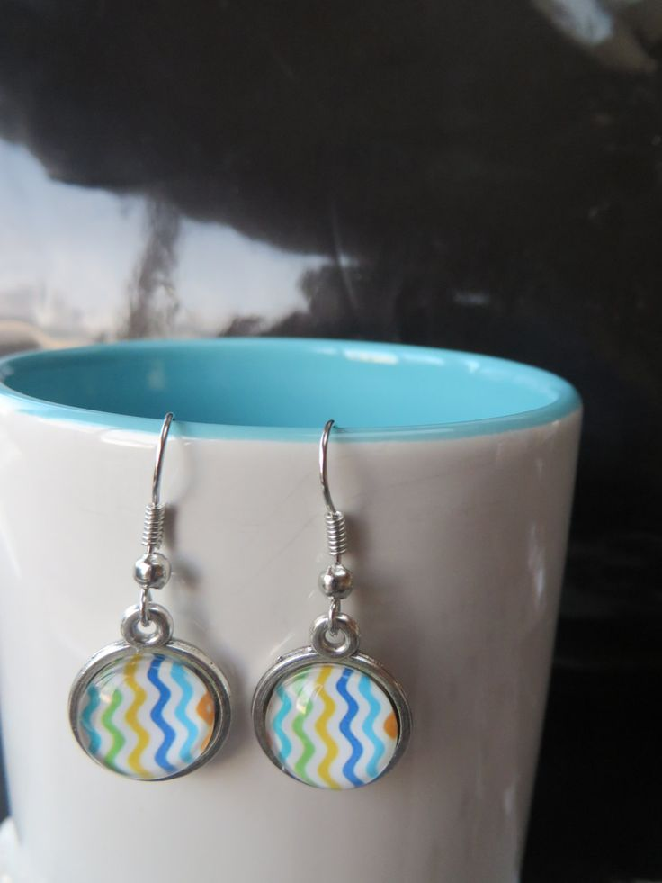 Rainbow Chevron Earrings 12mm - Stud, Dangle or Lever Back - Silver - Multi Color, Colour, Rainbow - Loosely Spaced Chevrons - pinned by pin4etsy.com