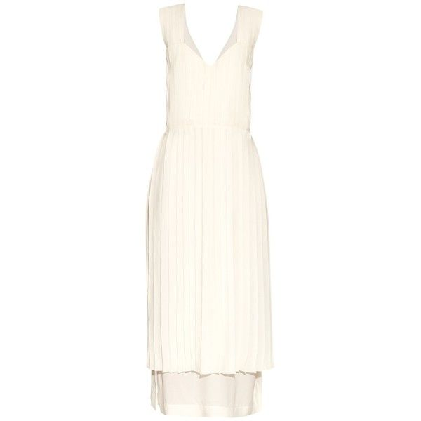 Edun V-neck pleated silk-chiffon dress ($468) ❤ liked on Polyvore featuring dresses, ivory, white v neck dress, roaring 20s dress, ivory dress, v neck midi dress and ivory midi dress