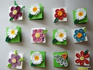 """Quilling - mini cards """"inchies"""" - 1""""x1"""" - made for 6 October - Day of Cardmaking"""