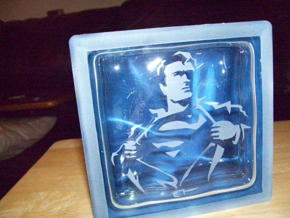 superman glass block by Johnnyblockhead on Etsy