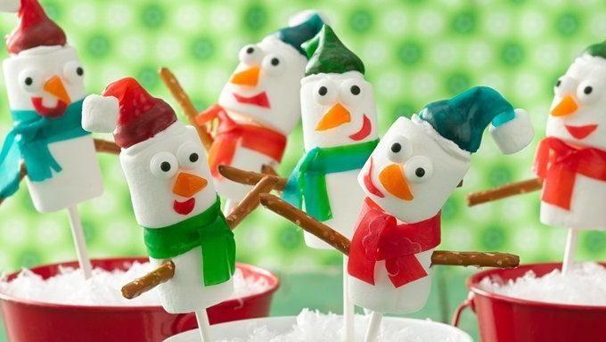 Fruity Snowmen marshmallow pops
