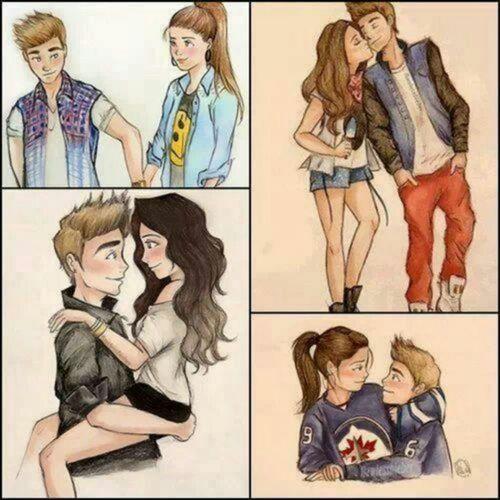 (: cute cartoon couple!