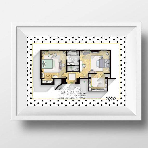 SALE Gossip Girl Apartment Floor Plan TV Show Floor by DrawHouse