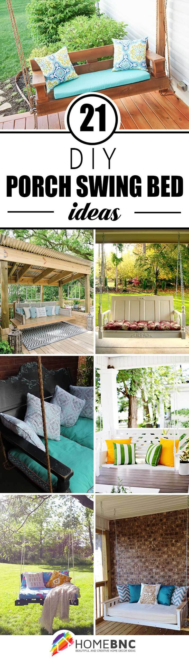 DIY Porch Swing Bed Decoration Ideas.-BY HOMEBNC ....there's no better way to take in the sun than on a bespoke porch swing. Porch swings have played a cherished part in idyllic Americana, and now more than ever even the stylishly discerning are making room for these classic pieces.