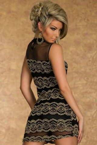 Duo Tone Black Collar Lace And Mesh Overlay Dress R399.00
