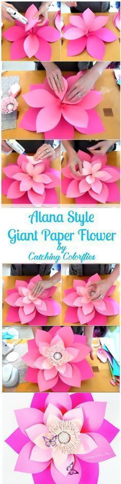 DIY this 21 inches ombre pink giant paper flower. Full template patterns and tutorials. Flower wall. #DIY http://CatchingColorflies.com