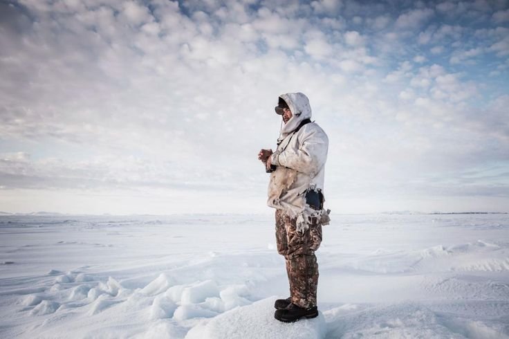 Picture of a man seal hunting in Kotzebue Alaska