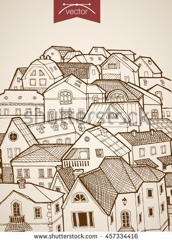 Engraving vintage hand drawn vector city roofs to skyline horizon. Pencil Sketch architecture illustration.