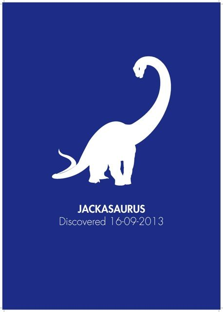 Dinosaur - All kids love dinosaurs and this stylish personalised print is a cool addition to any budding palaeontologist's bedroom. We know that little girls like dinosaurs too so our dinosaur print is available in a range of colours that include some girl friendly options too.