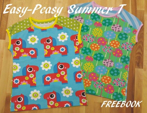 """STOFFwechsel Freebook """"Easy-Peasy Summer T"""" Gr.110-146"""