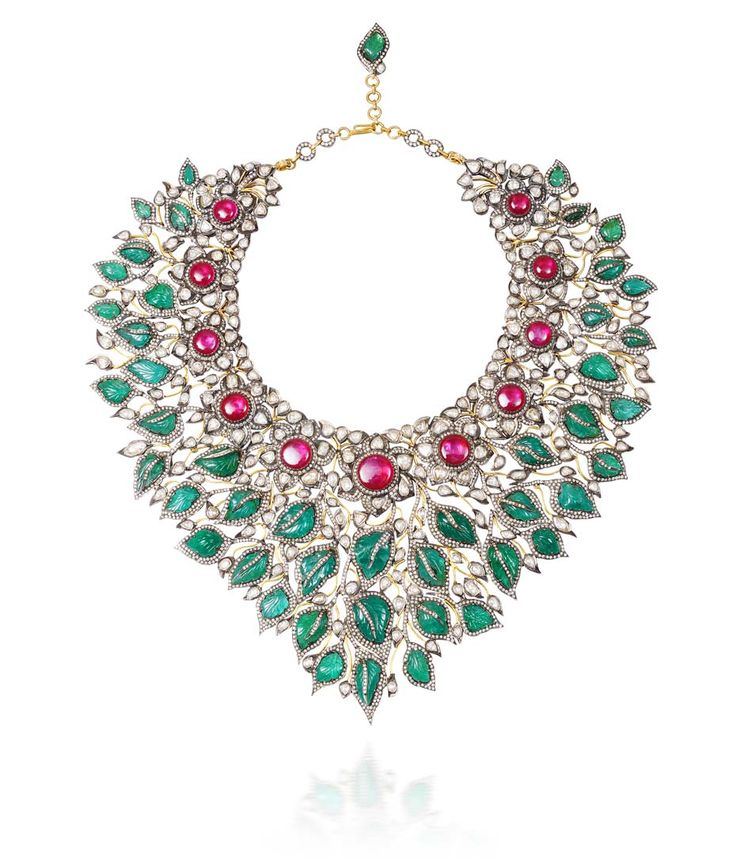 "Amrapali neckpiece or ""Sadabahar"", made for Project Blossoming using Gemfields Zambian emeralds and rubies from Mozambique."