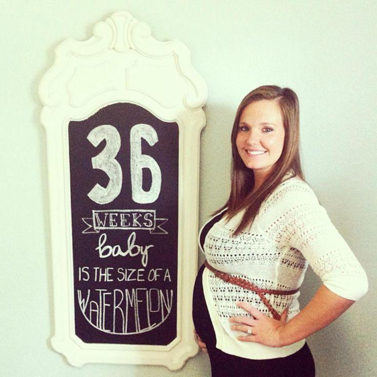 36 weeks pregnant : baby bump chalkboard  http://youngsnlove.blogspot.com