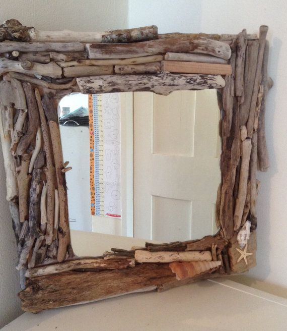 Driftwood mirror handmade by Chalkywoodcrafts on Etsy