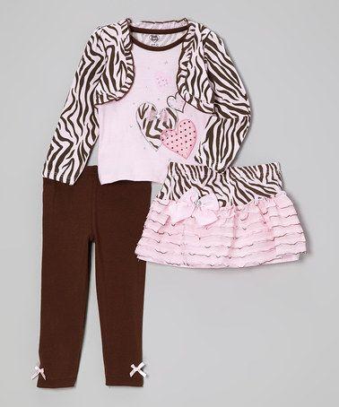 Light Pink Zebra Layered Top Set
