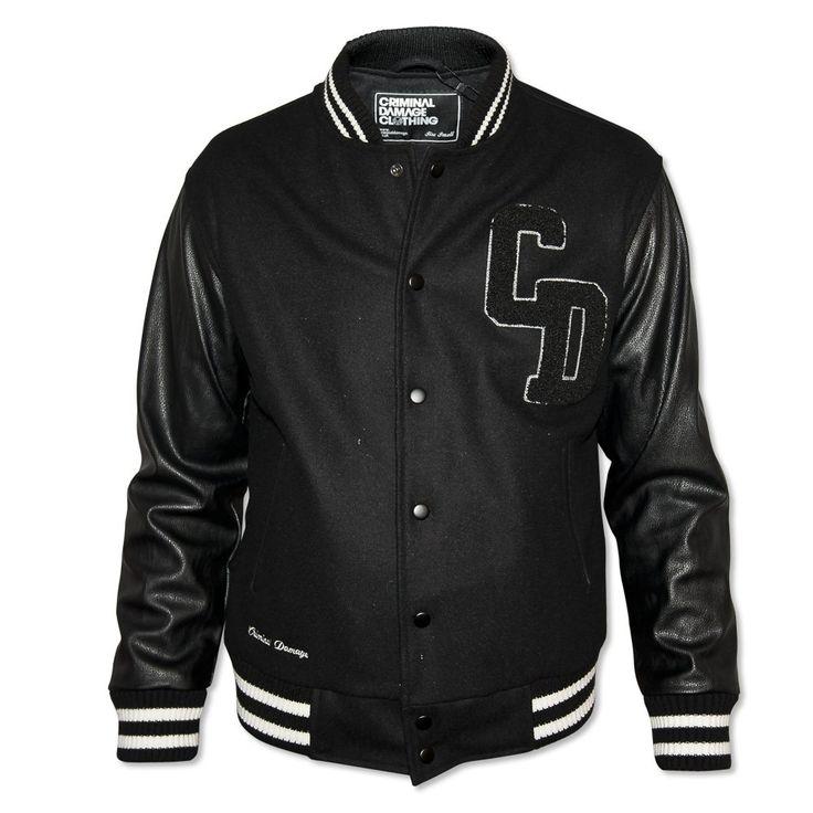 Criminal Damage  Men's Black Letterman Jacket