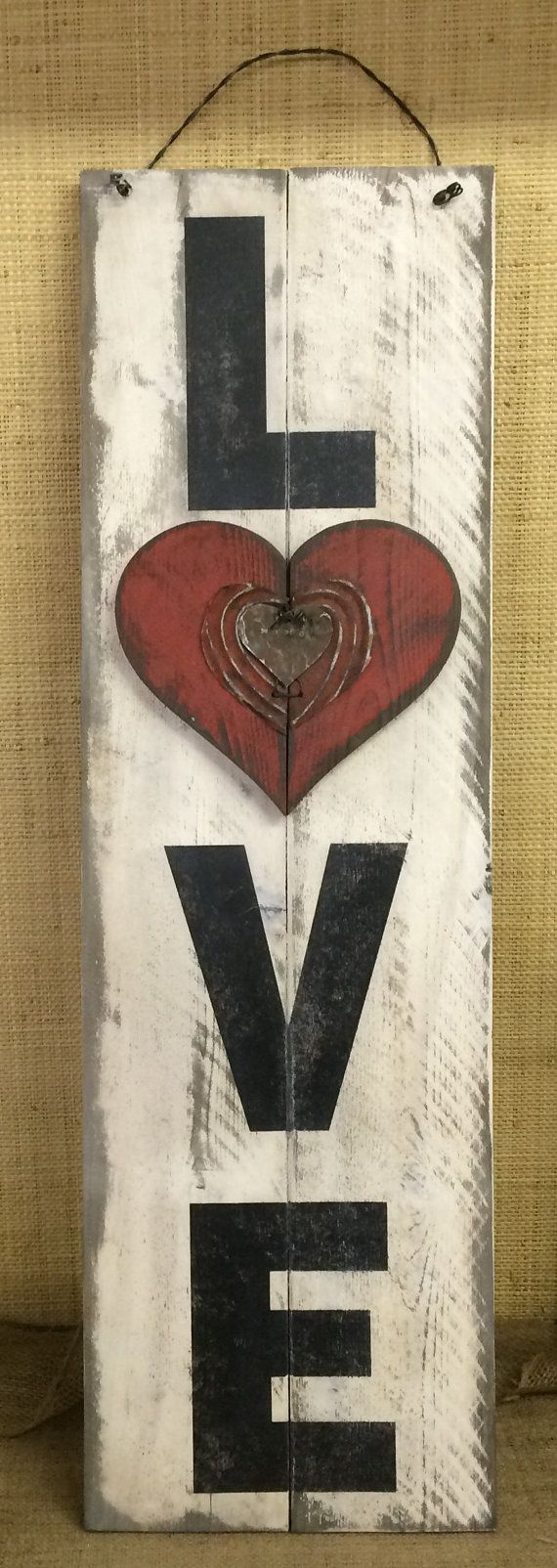 "Love / Valentine's Day Tall Holiday/Seasonal Wood Sign » Handmade &  Painted, Reclaimed Rusty Metal Rustic Distressed ""Pallet"" Sign"