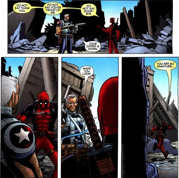 "His sense of humor is infectious. I loved the Cable and Deadpool series. Why did the ""House of M"" have to happen?::sigh:: I'm going to go re-read those comics now. 