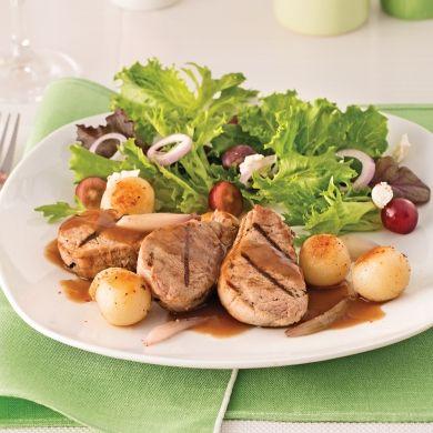 Porc grillé au porto, pommes de terre parisiennes poêlées - Recettes - Cuisine et nutrition - Pratico Pratique