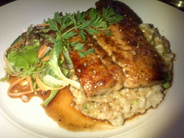 Pan fried line fish, pea and wasabi risotto, pickled cucumber salad and a soy and sesame glaze