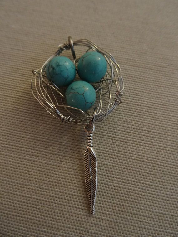 Silver Birds Nest with Turquoise Eggs and by YoungOliveJewelry