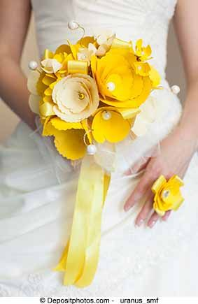 Yellow paper flower bouquet.