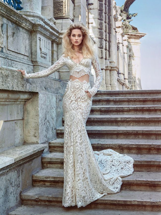 The two-piece Morgan gown's cropped, long sleeved top and matching full length lace skirt are sure to be among readers new favorites! See Galia Lahav Haute Couture's spectacular new 2016 Ivory Tower Wedding Dress Collection http://www.confettidaydreams.com/galia-lahav-2016-ivory-tower/