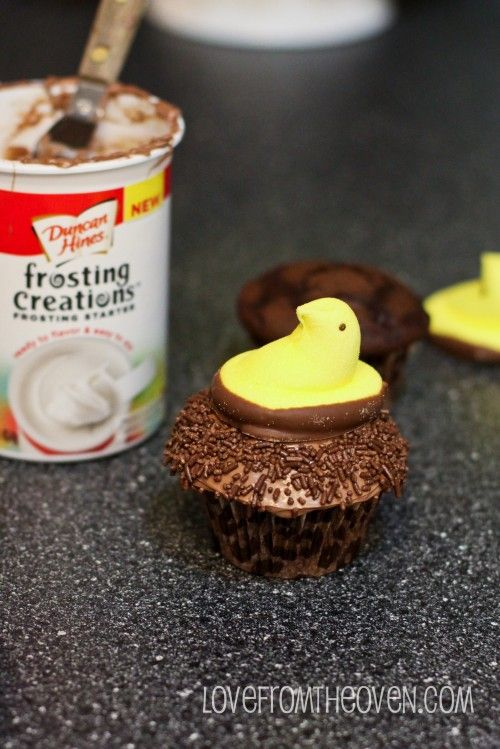 Fun peep toppers make these cupcakes bright and cheery