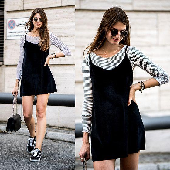 Jacky - Ray Ban Sunglasses, Vans Sneakers - Striped Shirt x Black Dress