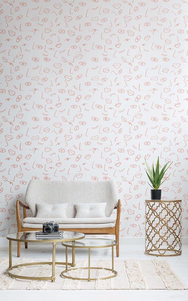 Papier Peint Effet Visage Rose Pink Home Decor Home Wallpaper