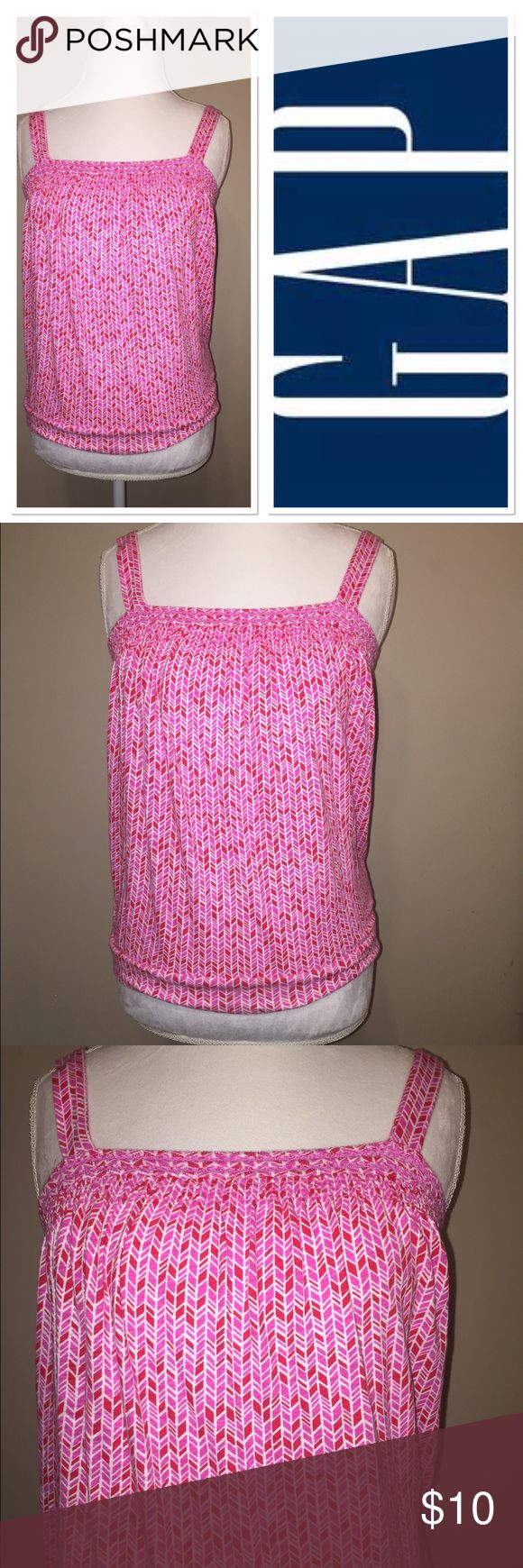 Gap pink and red tank top Very cute pink and red diamond print take with elastic bust in perfect condition GAP Tops Tank Tops