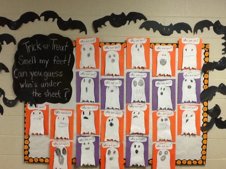 Kindergarten door display (that isn't actually on a door) was across the hall for the contest. The TA did an excellent job with the mummy. She drew him off using the opaque projector onto white bulletin board paper, then glued strips of gauze over him.