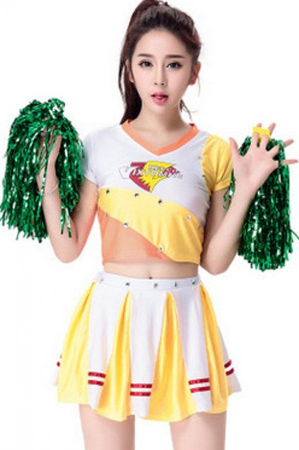 Yellow Cheerleader Sexy Sports Costume | Psychedelic Monk