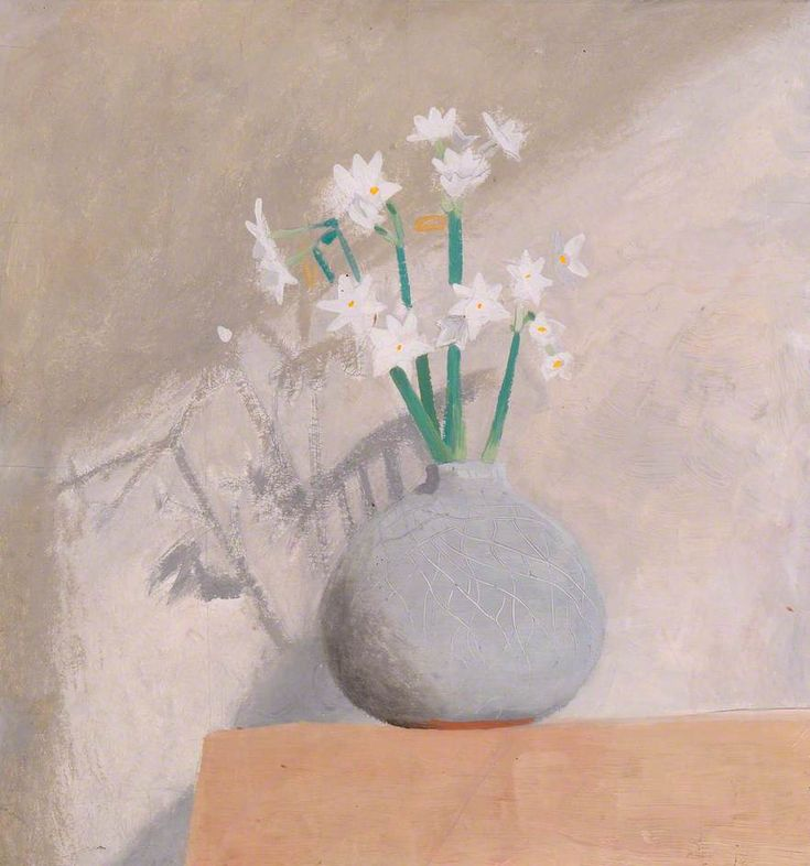 winifred nicholson - oil on panel - narcissi in a grey pot (1938)