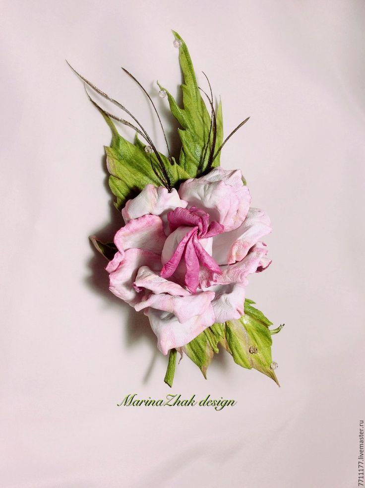"""Купить Роза из кожи """" Белые росы"""" - белый, бела роза, белая с розовым роза"""