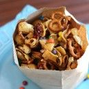 Frito snack mix - 1-10.5 oz bag Fritos, 2 c Rice Chex Cereal, 2 c Pretzel Twists, 1 1/2 c nuts 1 c lt brown sugar packed,1/2 c butter,1/2 c lt corn syrup, 1 c M oven 350 . Mix Fritos,chex pretzels & nuts , set aside .Melt sugar ,butter,& syrup,let come to a boil for 4 mins .Remove pour over frito mixture in a roasting pan, bake 8 mins . Remove & stir ,bake another 8 mins .Pour on wax paper to cool. Then sprinkle with m'.Store in airtight container up to a week .
