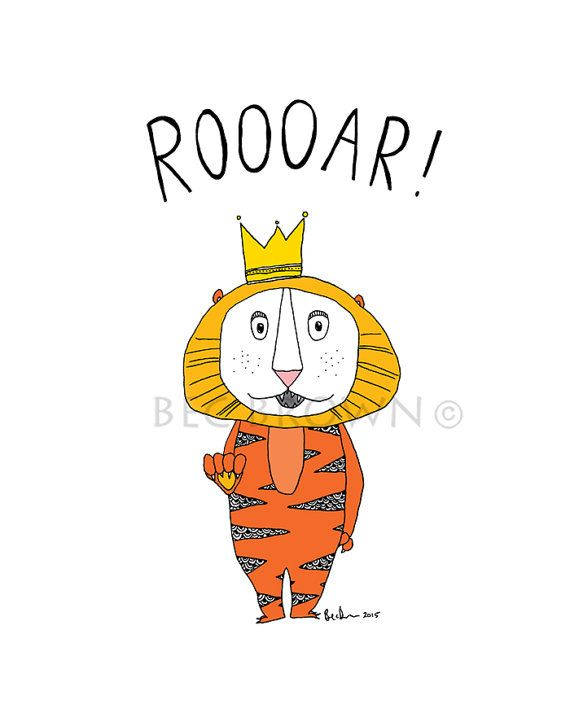 Lion Roar Childrens Bedroom Poster by CloudsofColourShop on Etsy