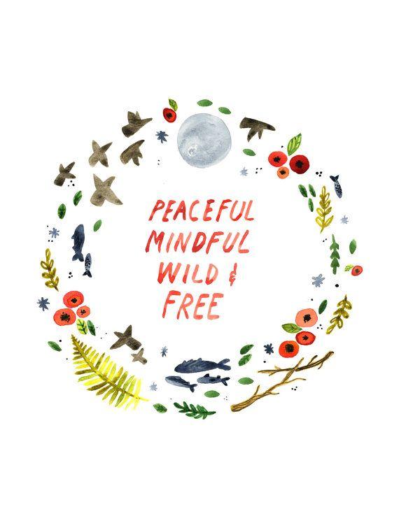 Stampa artistica tranquillo, Hippie arte della parete, selvaggio e libero, floreale, pittura, acquerello