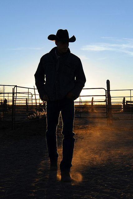 The cowboy reflects.... when the sun goes down on his day...
