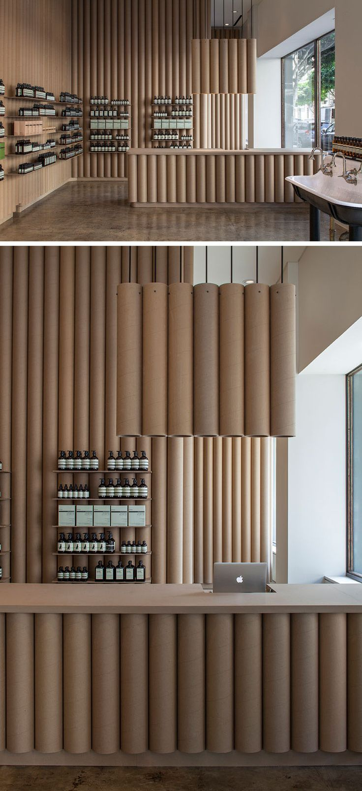 cardboard tubes have been used throughout this aesop store in downtown la - Retail Store Design Ideas