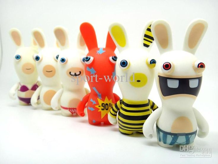 10 cm Rayman Raving Rabbids Rabbit Figure Toy in gift Box doll/toys crazy rabbit