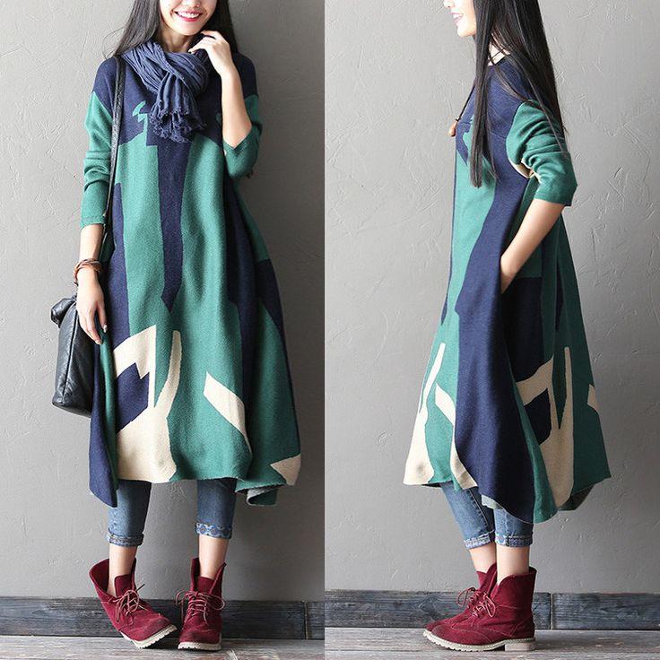 women winter woolen dress