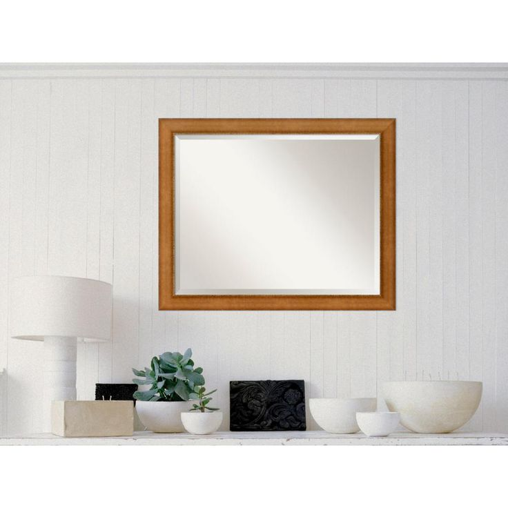 Egyptian Bronze Wood 32 in. W x 26 in. H Contemporary Framed Mirror