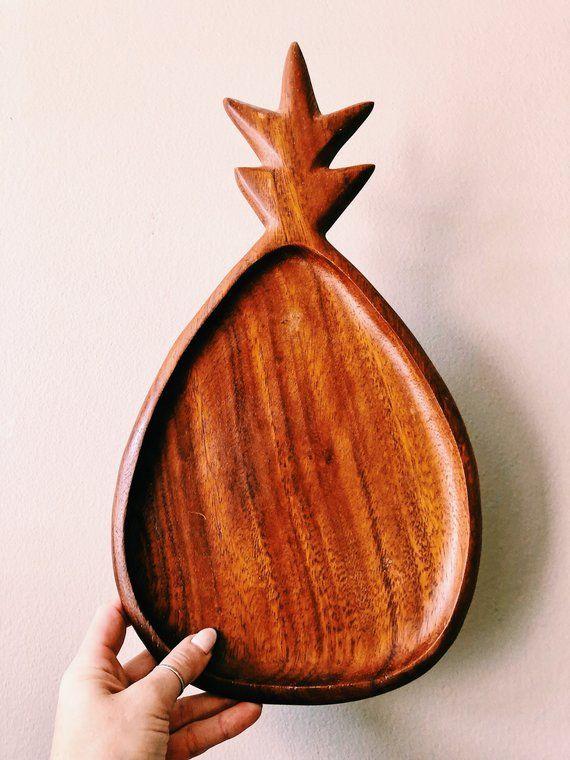 Large Vintage 16 Wooden Pineapple Tray Boho Serving Platter