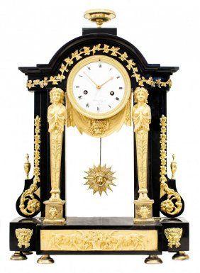 Reloj principios del SIGLO XIX muy fino de chimenea con péndulo