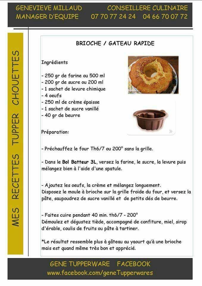 Brioche / Gateau rapide - Tupperware