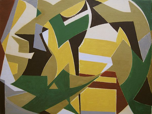 'Jazz d'Automne' Oil on paper laid down on canvas: 49 x 64 cm by Othello Radou (1910 - 2006)