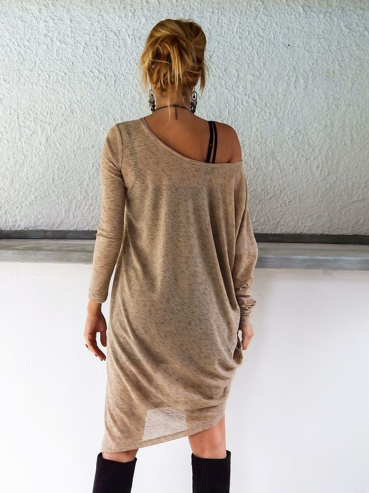 Beige Knitted Long Sleeve Dress - Blouse - Tunic / Plus Size Dress / Asymmetric Plus Size Dress-Blouse-Tunic / Oversize Dress / #35053
