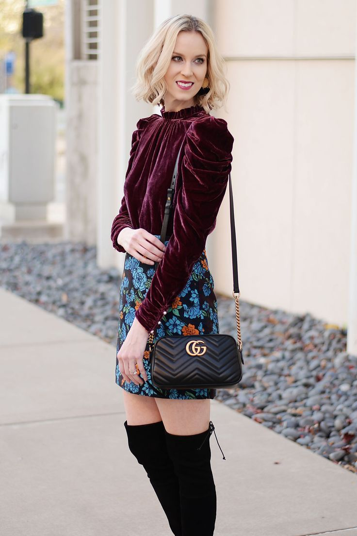 velvet wine top with jacquard floral skirt and over the knee boots, perfect holiday look #velvet #floral #skirt #holiday #holidayoutfits #gucci #boots #overthekneeboots