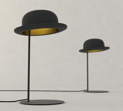 Hat Table Lamp - Crazy cool: Design Inspiration, Lamps Design, Bowler Hats, Lamps Lights, Hats Tables, Hats Lamps, Tables Lamps, Hats Lights, Hanging Lamps