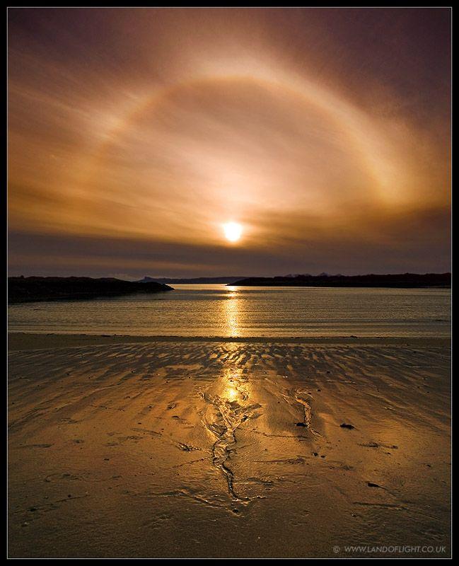 Setting sun with halo - Arisaig Beach - West Scotland